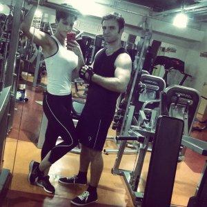 Mátékámmal készülődünk a személyi edzésre :))